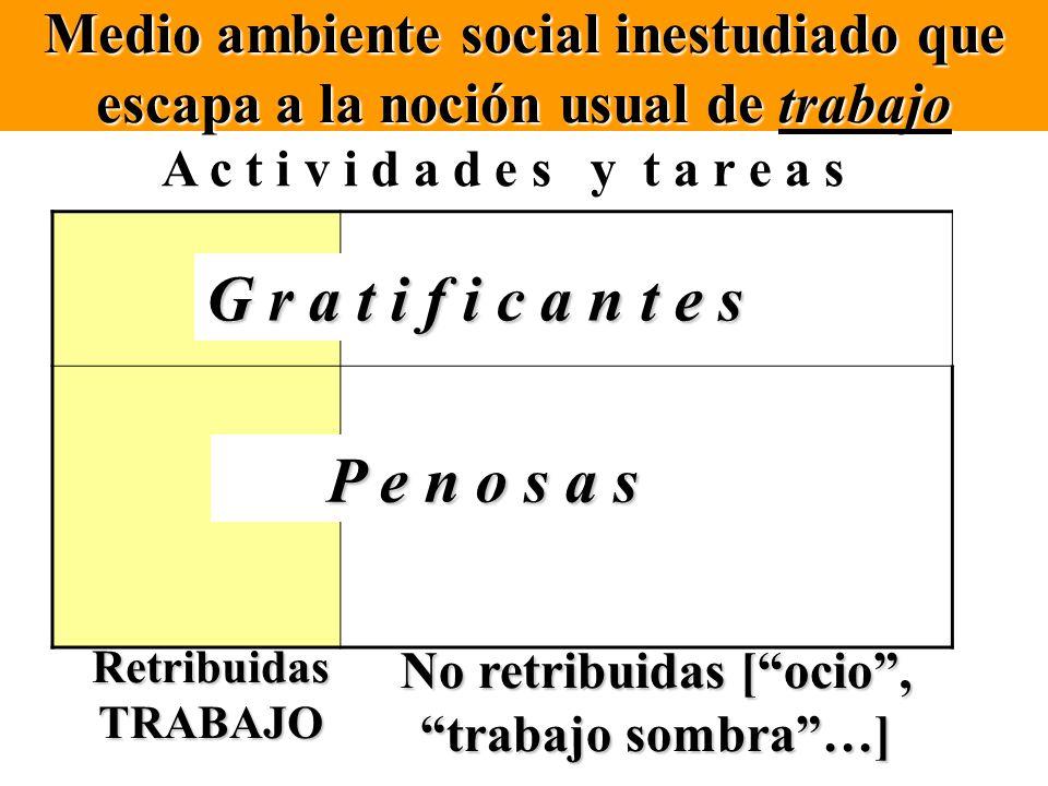 Medio ambiente social inestudiado que escapa a la noción usual de trabajo A c t i v i d a d e s y t a r e a s G r a t i f i c a n t e s P e n o s a s