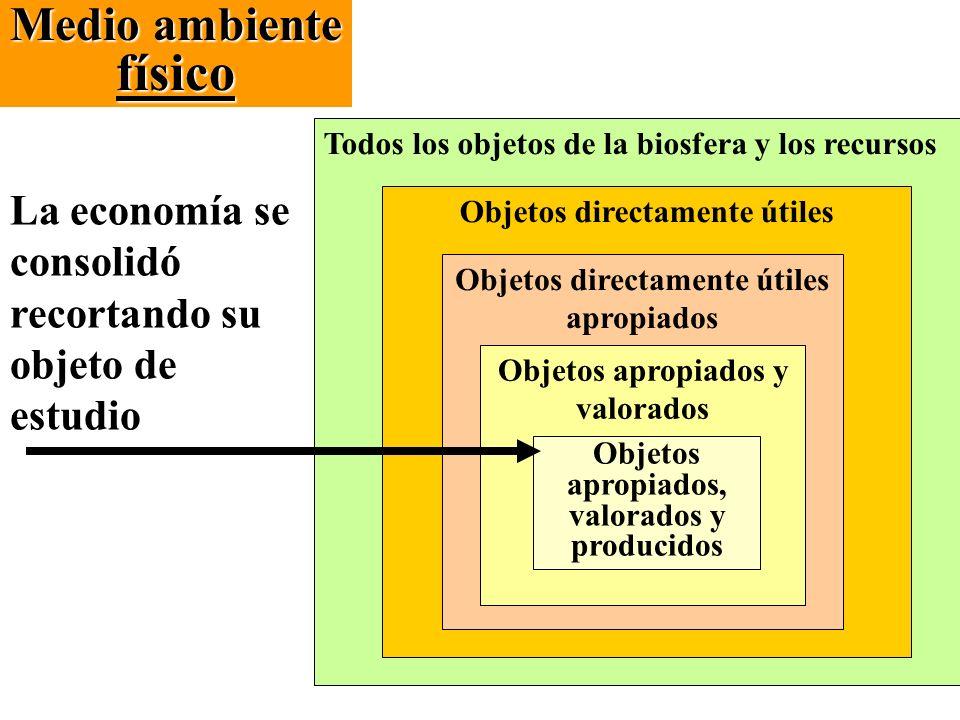 Medio ambiente físico La economía se consolidó recortando su objeto de estudio Todos los objetos de la biosfera y los recursos Objetos directamente út