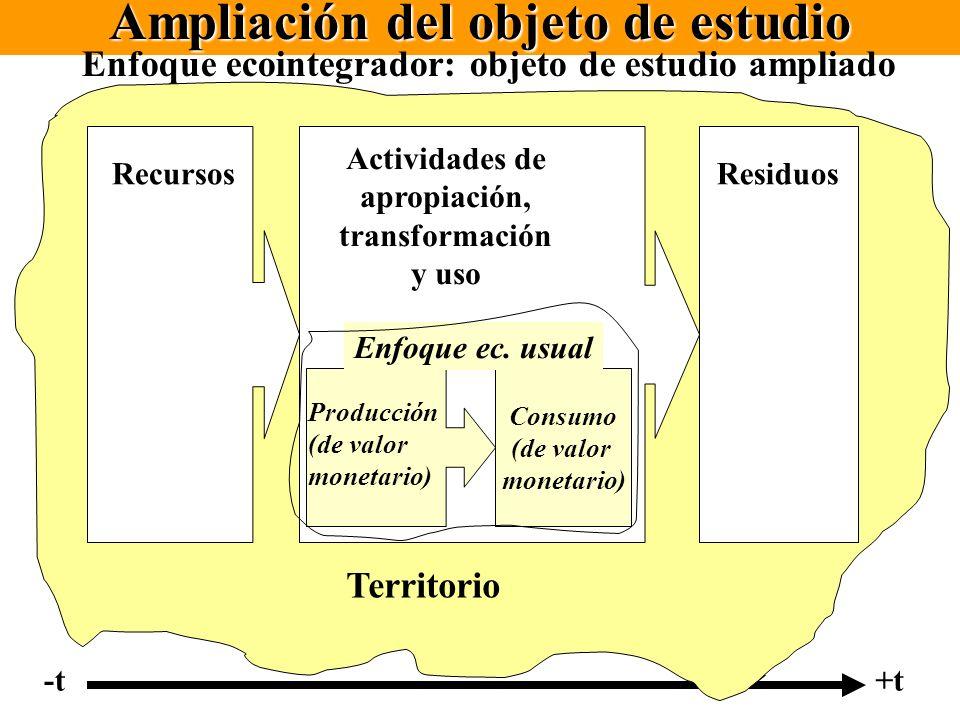 Ampliación del objeto de estudio Actividades de apropiación, transformación y uso RecursosResiduos Producción (de valor monetario) Consumo (de valor m