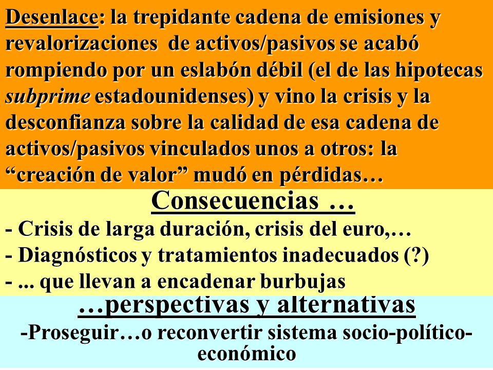 …perspectivas y alternativas -Proseguir…o reconvertir sistema socio-político- económico Desenlace: la trepidante cadena de emisiones y revalorizacione