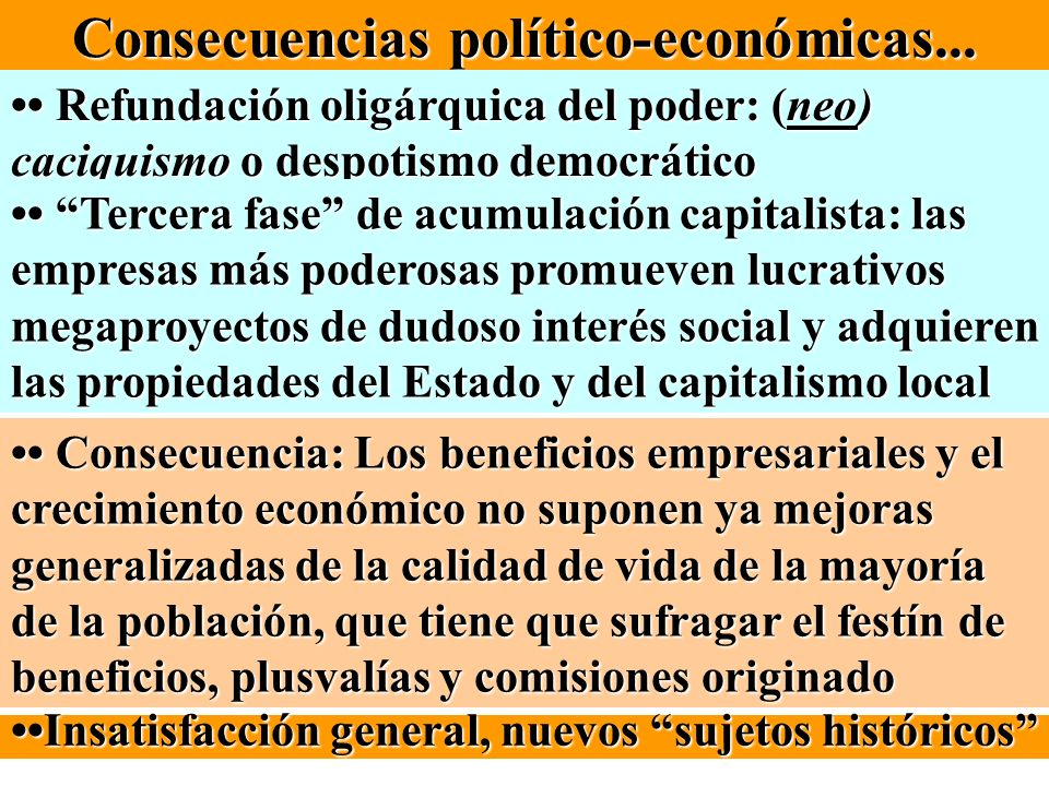 Consecuencias político-económicas... Refundación oligárquica del poder: (neo) caciquismo o despotismo democrático Refundación oligárquica del poder: (