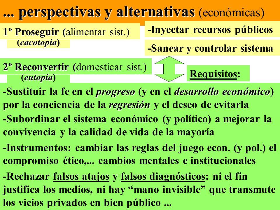 ... perspectivas y alternativas... perspectivas y alternativas (económicas) 1º Proseguir ( 1º Proseguir (alimentar sist.) 2º Reconvertir ( 2º Reconver