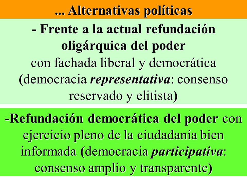 ... Alternativas políticas - Frente a la actual refundación oligárquica del poder con fachada liberal y democrática (democracia representativa: consen