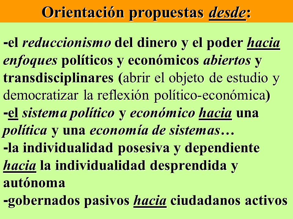 - el reduccionismo del dinero y el poder hacia enfoques políticos y económicos abiertos y transdisciplinares (abrir el objeto de estudio y democratiza