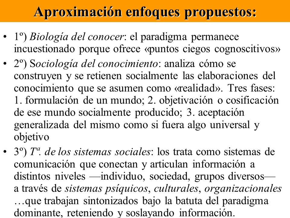 Aproximación enfoques propuestos: 1º) Biología del conocer: el paradigma permanece incuestionado porque ofrece «puntos ciegos cognoscitivos» 2º) Socio