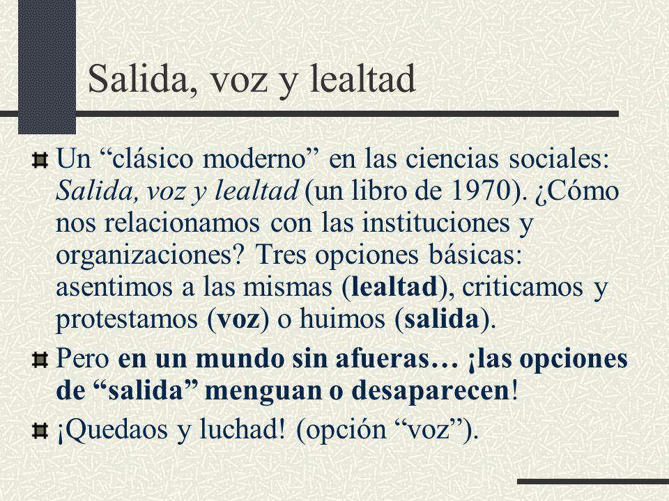 Salida, voz y lealtad Un clásico moderno en las ciencias sociales: Salida, voz y lealtad (un libro de 1970).