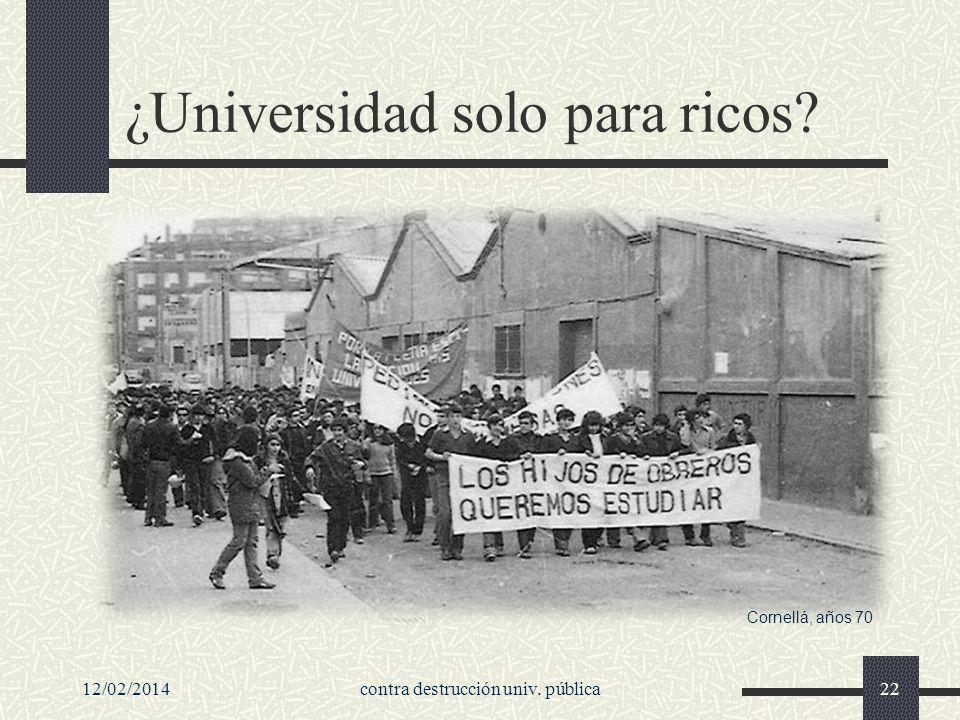 ¿Universidad solo para ricos 12/02/2014contra destrucción univ. pública22 Cornellá, años 70