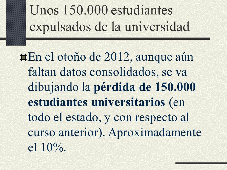 Unos 150.000 estudiantes expulsados de la universidad En el otoño de 2012, aunque aún faltan datos consolidados, se va dibujando la pérdida de 150.000 estudiantes universitarios (en todo el estado, y con respecto al curso anterior).