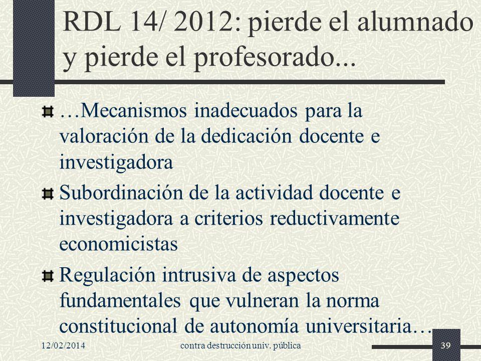 RDL 14/ 2012: pierde el alumnado y pierde el profesorado...