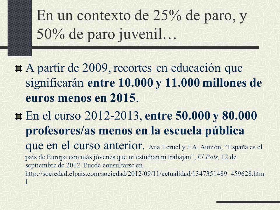 En un contexto de 25% de paro, y 50% de paro juvenil… A partir de 2009, recortes en educación que significarán entre 10.000 y 11.000 millones de euros menos en 2015.