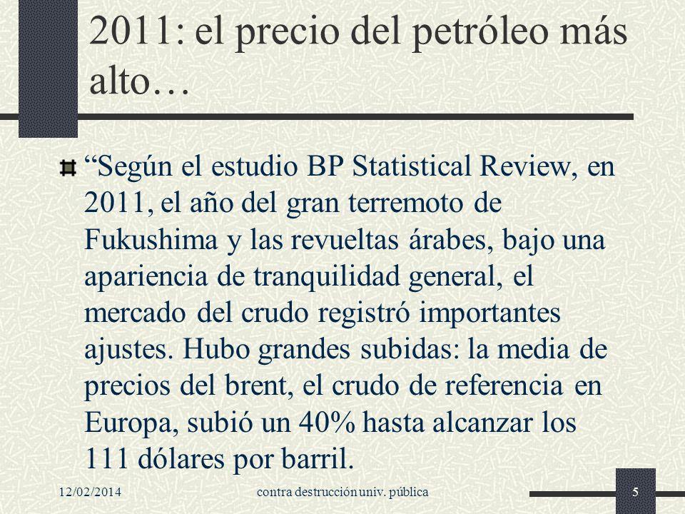 2011: el precio del petróleo más alto… Según el estudio BP Statistical Review, en 2011, el año del gran terremoto de Fukushima y las revueltas árabes, bajo una apariencia de tranquilidad general, el mercado del crudo registró importantes ajustes.