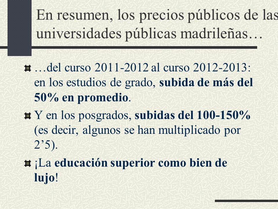 En resumen, los precios públicos de las universidades públicas madrileñas… …del curso 2011-2012 al curso 2012-2013: en los estudios de grado, subida de más del 50% en promedio.