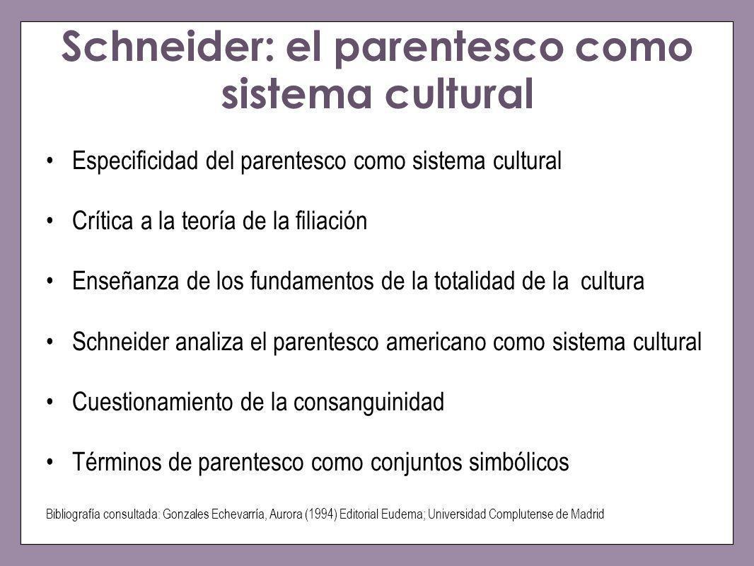 Schneider: el parentesco como sistema cultural Especificidad del parentesco como sistema cultural Crítica a la teoría de la filiación Enseñanza de los