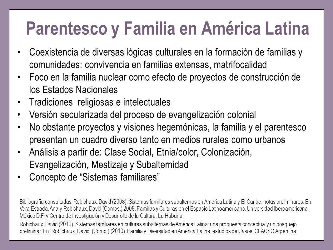 Parentesco y Familia en América Latina Bibliografía consultadas: Robichaux, David (2008). Sistemas familiares subalternos en América Latina y El Carib