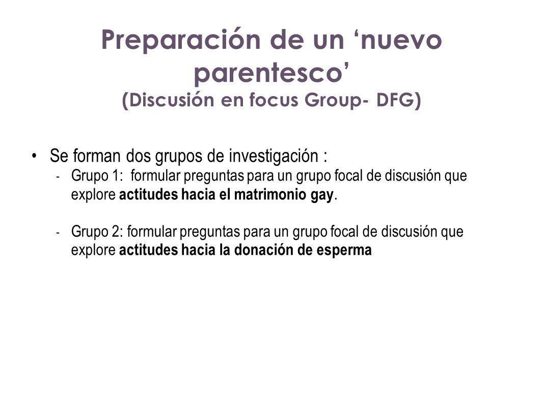 Preparación de un nuevo parentesco (Discusión en focus Group- DFG) Se forman dos grupos de investigación : - Grupo 1: formular preguntas para un grupo