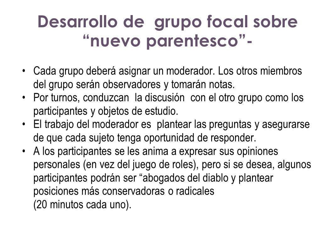 Desarrollo de grupo focal sobre nuevo parentesco- Cada grupo deberá asignar un moderador. Los otros miembros del grupo serán observadores y tomarán no