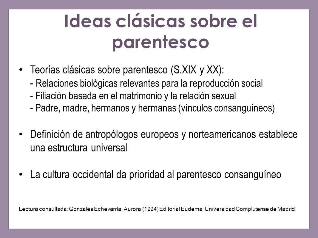 Ideas clásicas sobre el parentesco Teorías clásicas sobre parentesco (S.XIX y XX): - Relaciones biológicas relevantes para la reproducción social - Fi