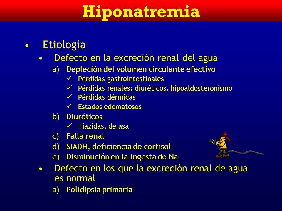 Hiponatremia Intracelular Extracelular 280 mosmol/Kg H20H20 K+=140 mEq/L 25 L 280 mosmol/Kg H20H20 Na+=140 mEq/L 17 L Volumen Generación de la Hiponat