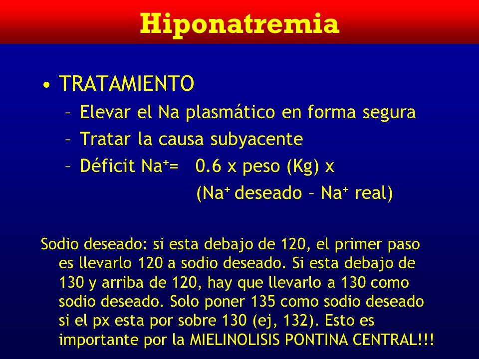 Hipovolemia DIAGNOSTICO –Historia Clínica –Examen Físico (cefalea, adormecimiento, convulciones) –Osmolaridad Plasmática Baja: hiponatremia verdadera