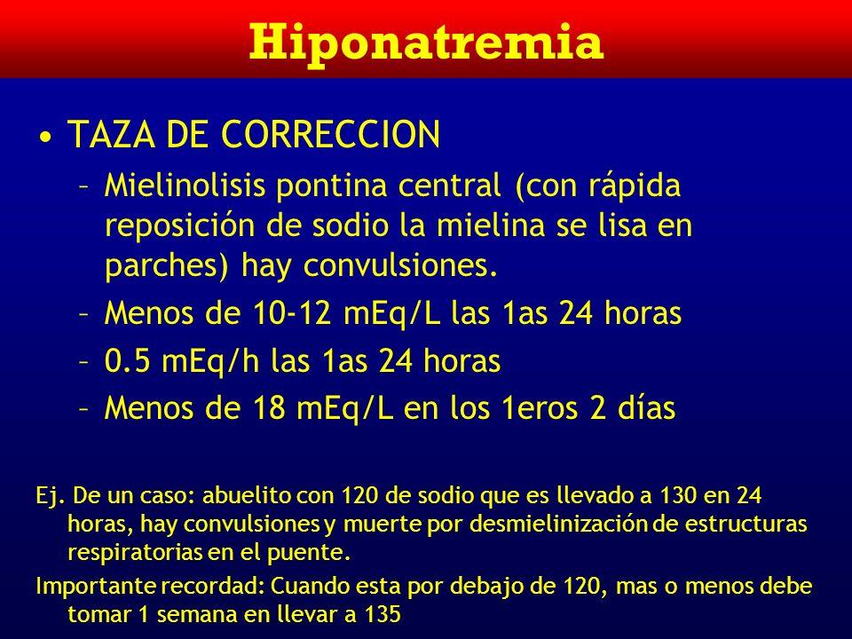 Hiponatremia TRATAMIENTO –Elevar el Na plasmático en forma segura –Tratar la causa subyacente –Déficit Na + = 0.6 x peso (Kg) x (Na + deseado – Na + r