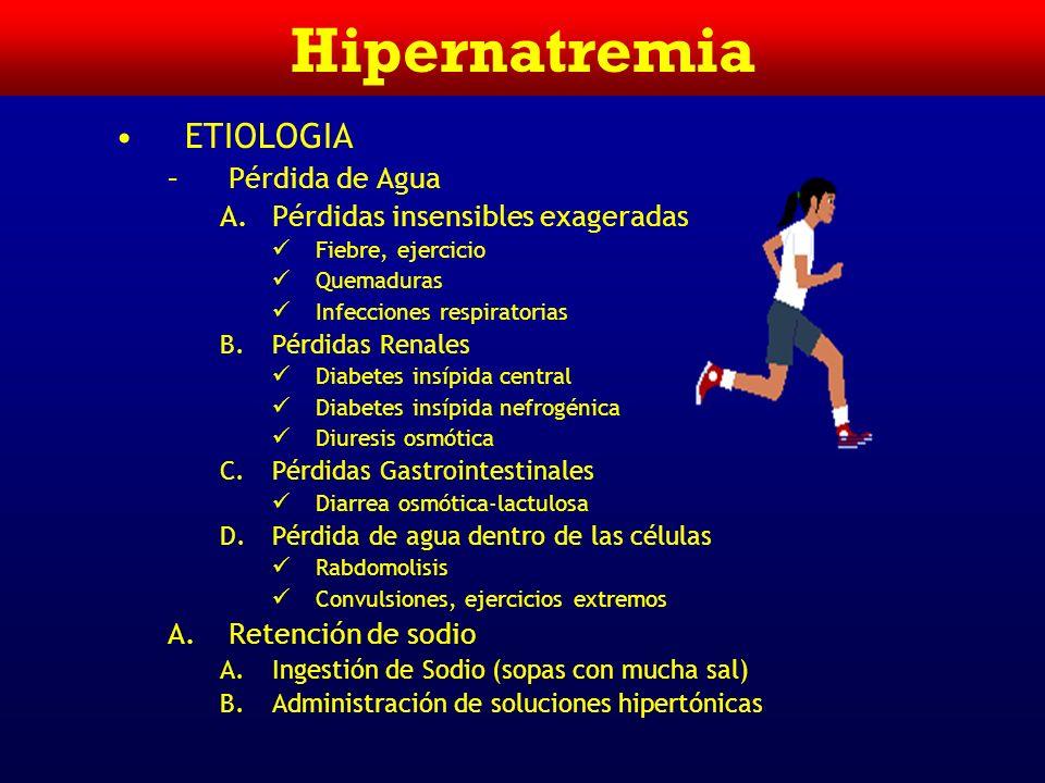Hipernatremia Intracelular Extracelular 280 mosmol/Kg H20H20 K+=140 mEq/L 25 L 280 mosmol/Kg H20H20 Na+=140 mEq/L 17 L Volumen Generación