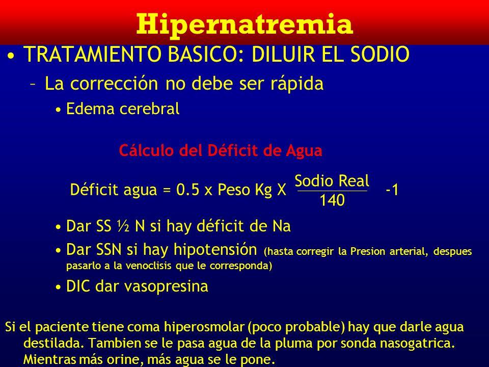 Hipernatremia DIAGNOSTICO –Historia Clínica –Medición P osm –Osmolaridad Urinaria Menos de 300 mosmol/Kg Respuesta a ADH CDI+ NDI- 300-800 mosmol/Kg R