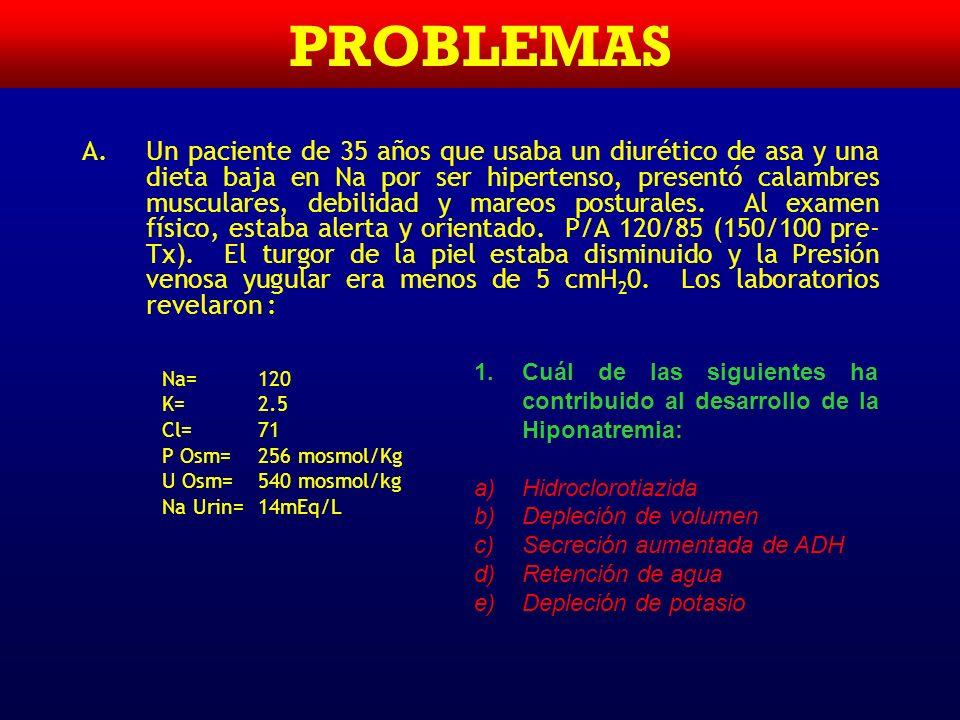 Hipernatremia TRATAMIENTO BASICO: DILUIR EL SODIO –La corrección no debe ser rápida Edema cerebral Dar SS ½ N si hay déficit de Na Dar SSN si hay hipo