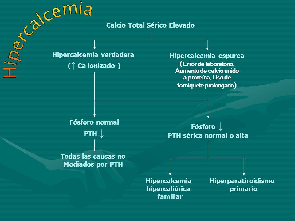 Calcio Total Sérico Elevado Hipercalcemia verdadera ( Ca ionizado ) Hipercalcemia espurea ( Error de laboratorio, Aumento de calcio unido a proteína,