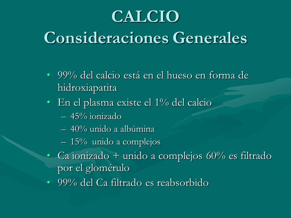 CALCIO Consideraciones Generales 99% del calcio está en el hueso en forma de hidroxiapatita99% del calcio está en el hueso en forma de hidroxiapatita