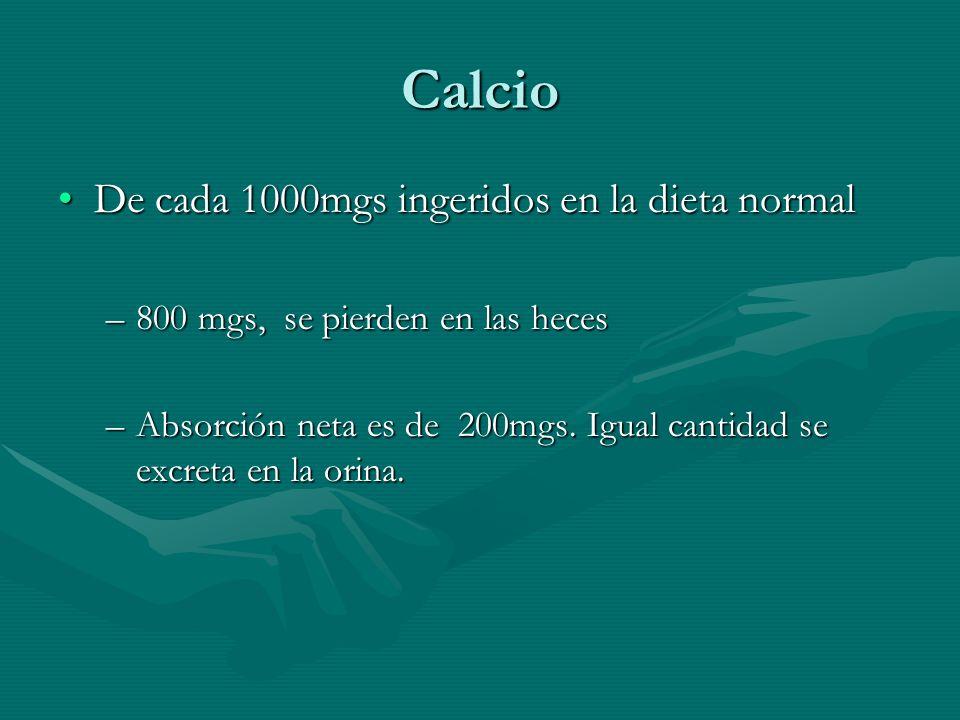 Calcio De cada 1000mgs ingeridos en la dieta normalDe cada 1000mgs ingeridos en la dieta normal –800 mgs, se pierden en las heces –Absorción neta es d
