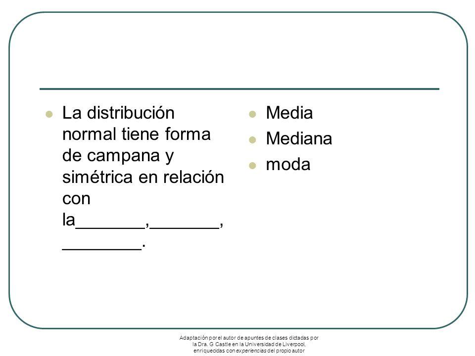 La distribución normal tiene forma de campana y simétrica en relación con la_______,_______, ________. Media Mediana moda Adaptación por el autor de a