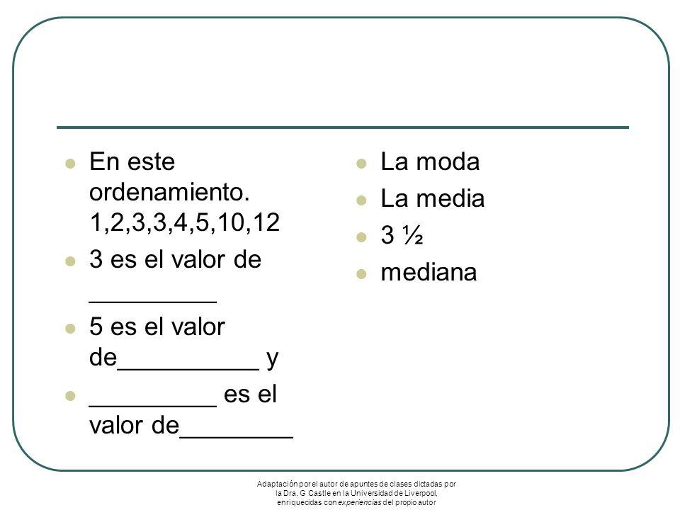 En este ordenamiento. 1,2,3,3,4,5,10,12 3 es el valor de _________ 5 es el valor de__________ y _________ es el valor de________ La moda La media 3 ½