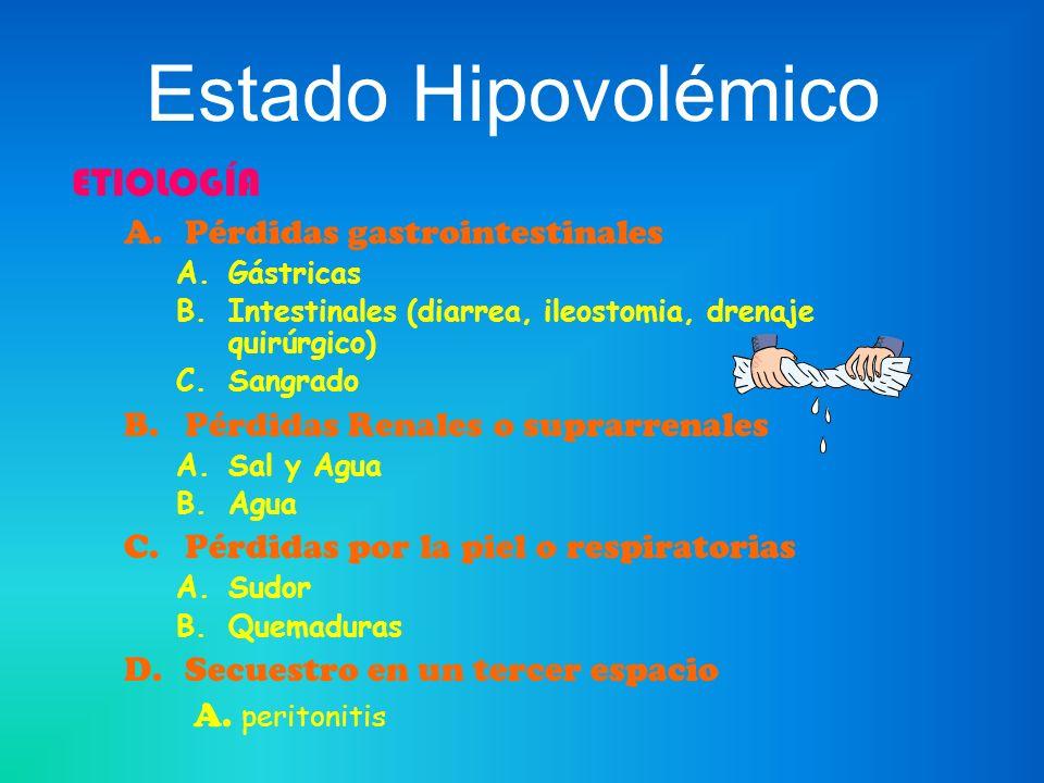 Estado Hipovolémico ETIOLOGÍA A.Pérdidas gastrointestinales A.Gástricas B.Intestinales (diarrea, ileostomia, drenaje quirúrgico) C.Sangrado B.Pérdidas