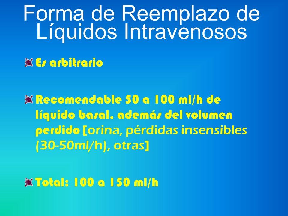 Forma de Reemplazo de Líquidos Intravenosos Es arbitrario Recomendable 50 a 100 ml/h de líquido basal, además del volumen perdido [ orina, pérdidas in