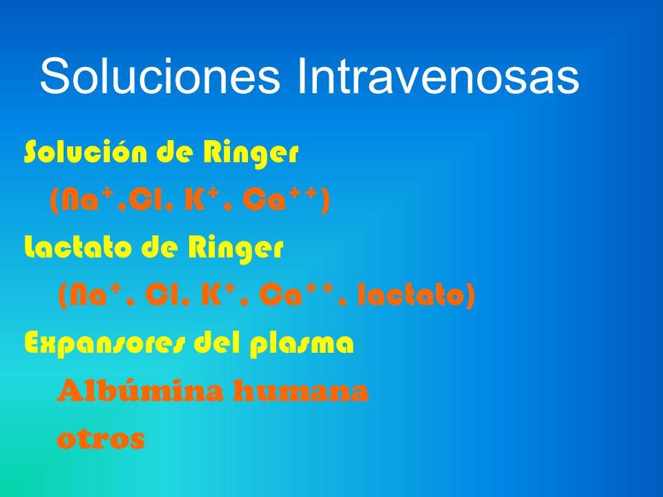 Soluciones Intravenosas Solución de Ringer (Na +,Cl, K +, Ca ++ ) Lactato de Ringer (Na +, Cl, K +, Ca ++, lactato) Expansores del plasma Albúmina hum