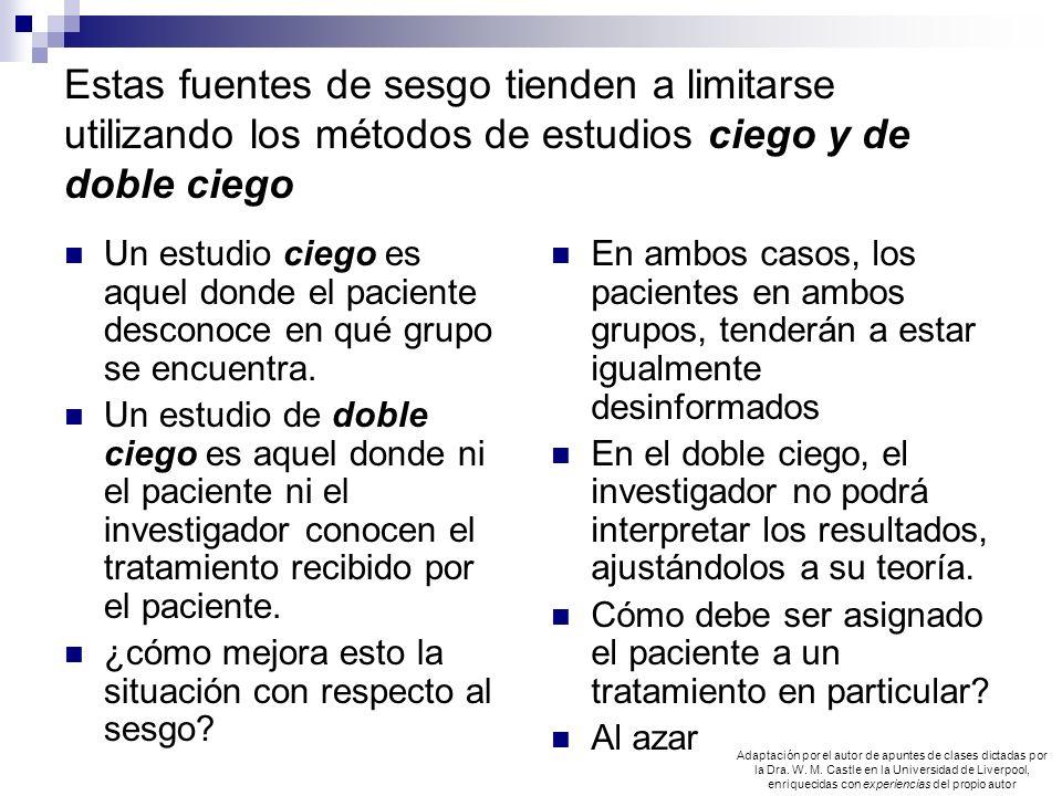 Estas fuentes de sesgo tienden a limitarse utilizando los métodos de estudios ciego y de doble ciego Un estudio ciego es aquel donde el paciente desco