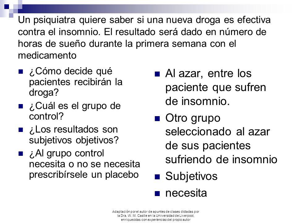 Un psiquiatra quiere saber si una nueva droga es efectiva contra el insomnio. El resultado será dado en número de horas de sueño durante la primera se