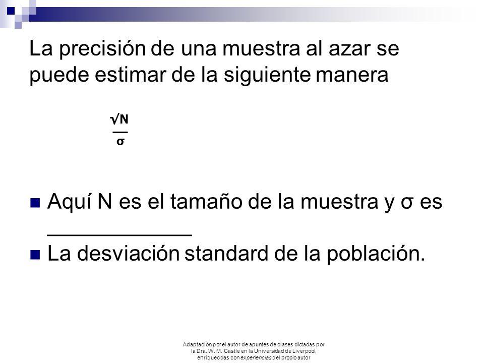 La precisión de una muestra al azar se puede estimar de la siguiente manera Aquí N es el tamaño de la muestra y σ es ____________ La desviación standa
