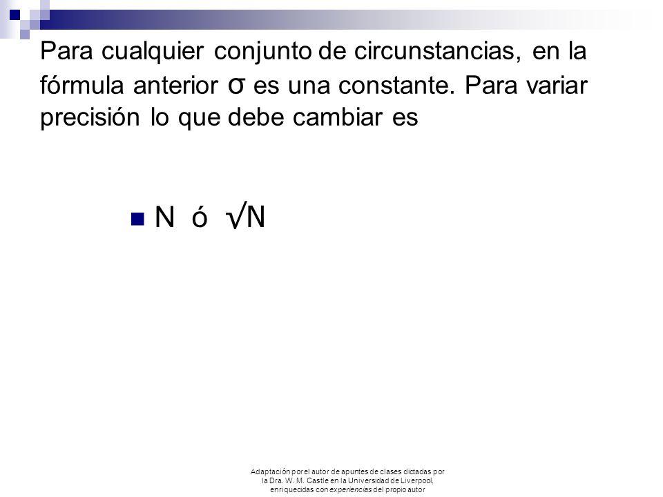 Para cualquier conjunto de circunstancias, en la fórmula anterior σ es una constante. Para variar precisión lo que debe cambiar es N ó N Adaptación po