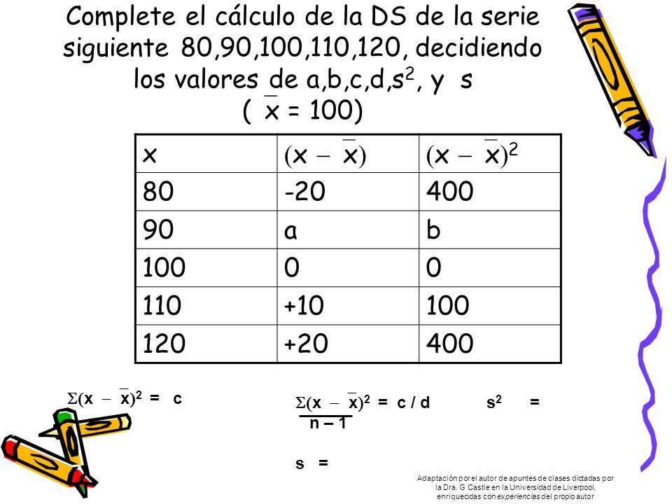 Complete el cálculo de la DS de la serie siguiente 80,90,100,110,120, decidiendo los valores de a,b,c,d,s 2, y s ( x = 100) x x x x x 2 80-20400 90ab 10000 110+10100 120+20400 x x 2 = c x x 2 = c / d s 2 = n – 1 s = Adaptación por el autor de apuntes de clases dictadas por la Dra.