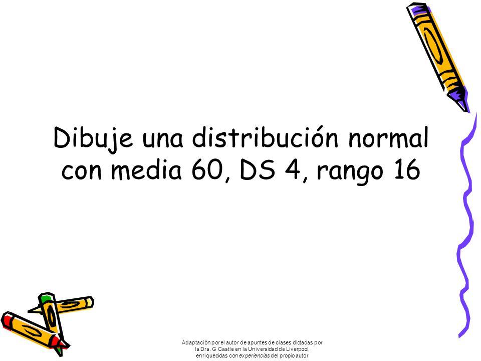 Dibuje una distribución normal con media 60, DS 4, rango 16 Adaptación por el autor de apuntes de clases dictadas por la Dra.