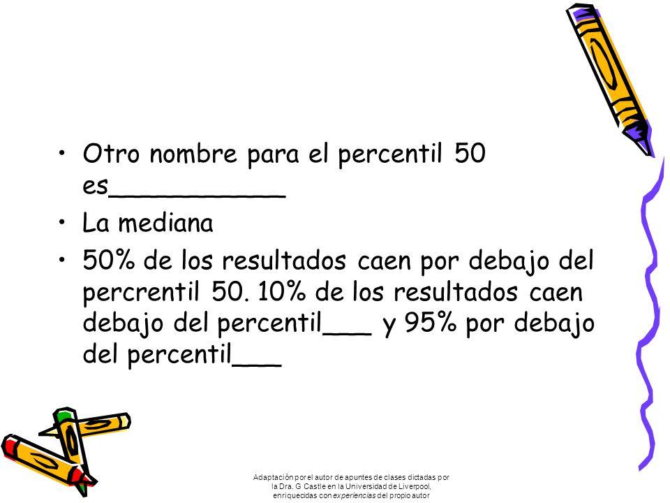 Otro nombre para el percentil 50 es___________ La mediana 50% de los resultados caen por debajo del percrentil 50.