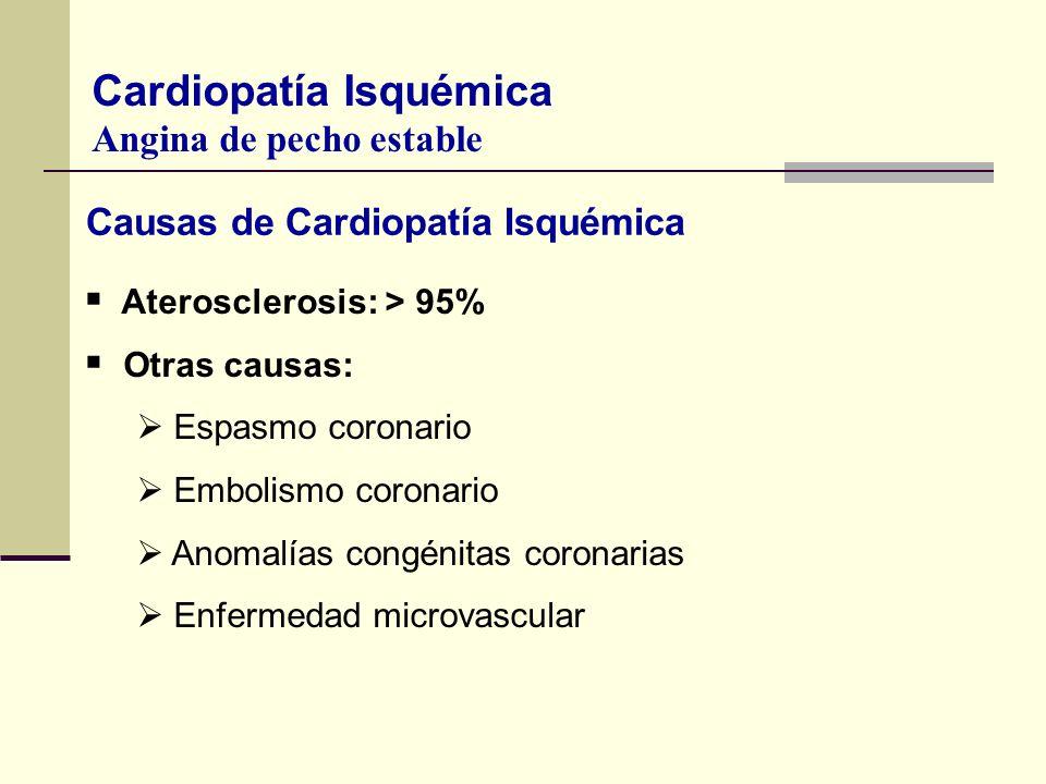 Causas de Cardiopatía Isquémica 1. Aterosclerosis: > 95% Otras causas: Espasmo coronario Embolismo coronario Anomalías congénitas coronarias Enfermeda
