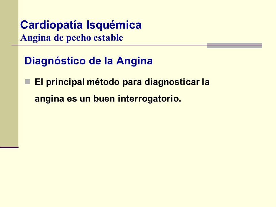 Diagnóstico de la Angina El principal método para diagnosticar la angina es un buen interrogatorio. Cardiopatía Isquémica Angina de pecho estable