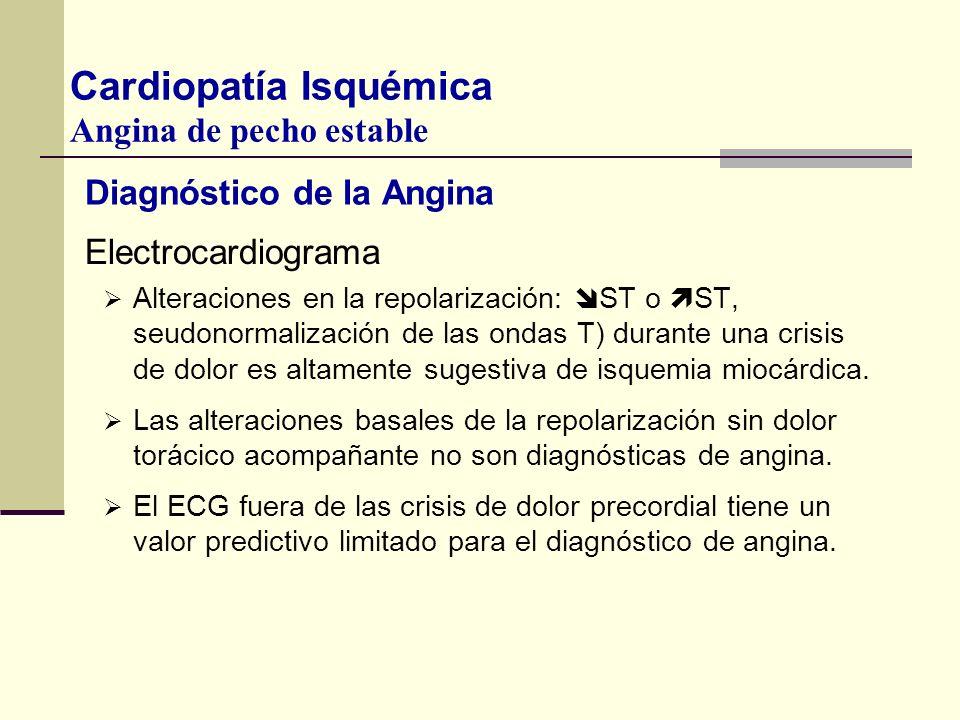 Diagnóstico de la Angina Electrocardiograma Alteraciones en la repolarización: ST o ST, seudonormalización de las ondas T) durante una crisis de dolor