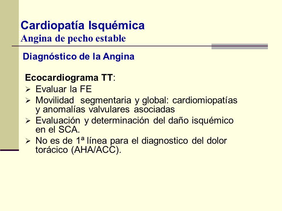 Diagnóstico de la Angina Ecocardiograma TT: Evaluar la FE Movilidad segmentaria y global: cardiomiopatías y anomalías valvulares asociadas Evaluación