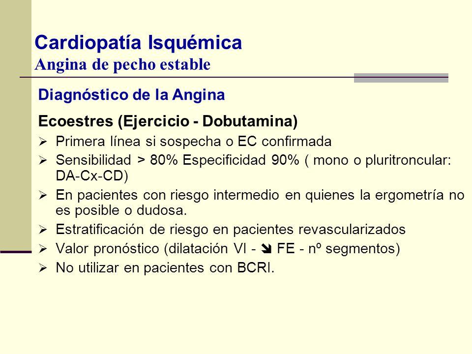 Diagnóstico de la Angina Ecoestres (Ejercicio - Dobutamina) Primera línea si sospecha o EC confirmada Sensibilidad > 80% Especificidad 90% ( mono o pl