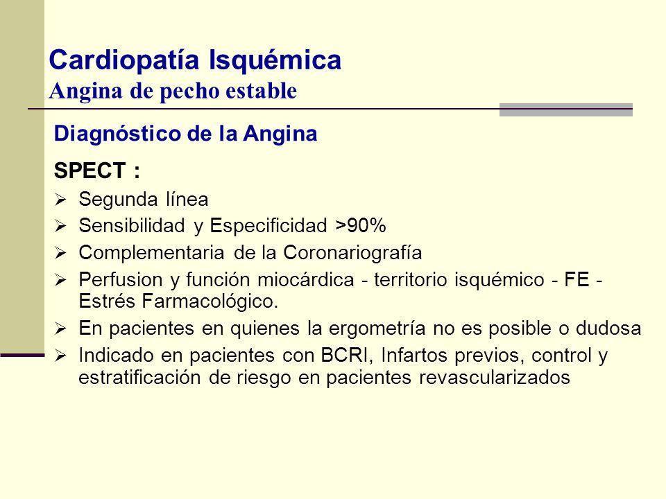 Diagnóstico de la Angina SPECT : Segunda línea Sensibilidad y Especificidad >90% Complementaria de la Coronariografía Perfusion y función miocárdica -