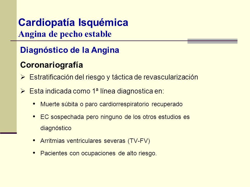 Diagnóstico de la Angina Coronariografía Estratificación del riesgo y táctica de revascularización Esta indicada como 1ª línea diagnostica en: Muerte