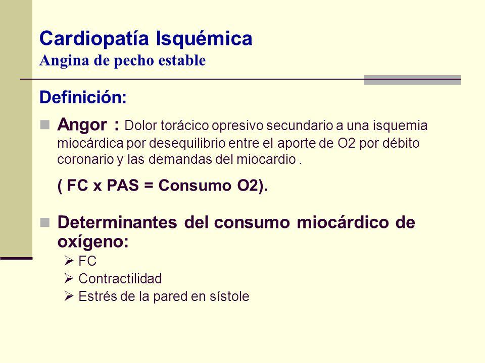 Definición: Angor : Dolor torácico opresivo secundario a una isquemia miocárdica por desequilibrio entre el aporte de O2 por débito coronario y las de